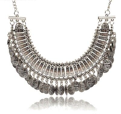Boho Silver Coin Statement NECKLACE Ethnic Tribal Gypsy Hippie Coachella Jewelry
