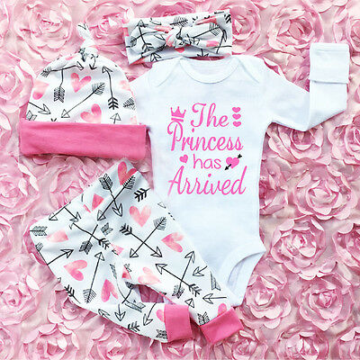 UK Newborn Infant Baby Girl Romper Jumpsuit Bodysuit Headband Clothes Outfits