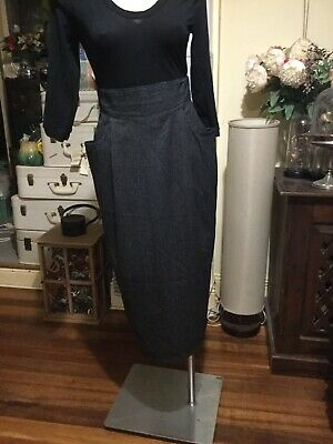 Vintage High Waist A Line Skirt Black White Striped Fabric Size 12 TOMBOY