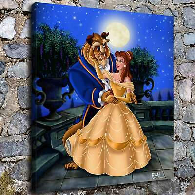 Beauty stroking the face of the beast HD Canvas prints Home Room Decor Wall art