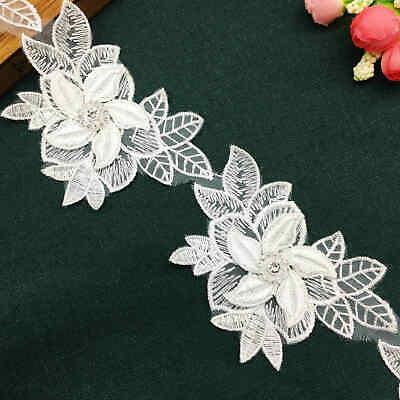 2 yard 3D Diamond Flower Leaves Lace Edge Trim Embroidered Wedding Ribbon Sewing