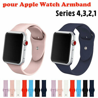 Remplacement Bracelet Silicone Bande pour Apple Watch Serie 4 3 2 1 38/42mm FR