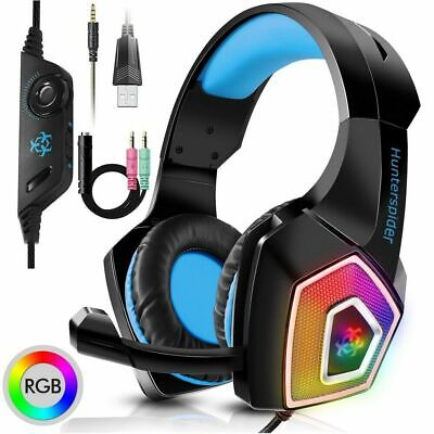 3.5mm Gaming Headset MIC LED Headphone V1 Surround for PC Laptop PS4 Xbox one