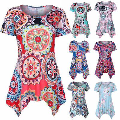 Womens Summer Floral O Neck Blouse Loose Swing Tops Tunic T Shirt Plus Size