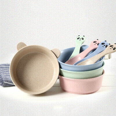 Kid Baby Cartoon Panda Wheat Bowl Spoon Anti-scalding Anti-falling Tableware Set