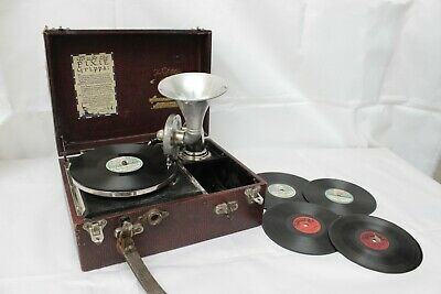 Original Working Pixie Grippa Perophone Gramophone - 1920s - Rare Red Case