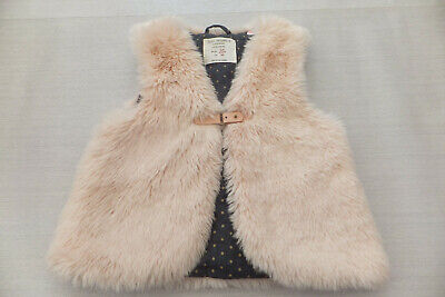 Zara Baby Girls Gorgeous Cute cream Faux fur Quilted Gillet In Mint Cond 2/3yrs