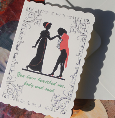 Jane Austen Pride and Prejudice card, Cameo style card with Text, Vintage style