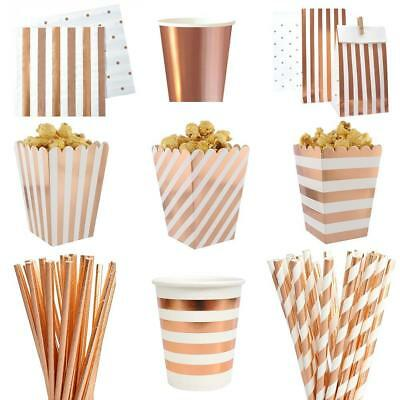 Rose Gold Disposable Tableware Sets Champagne Party Cup Plate Party Tableware