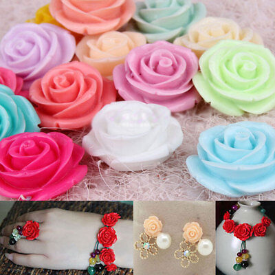 50pcs 15mm Resin Rose Flower Flatback Buttons Scrapbooking Appliques