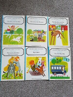 One Two Three And Away Pre Reader Blue Book series, 1-6 Rare Vintage complete
