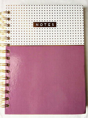 Wirebound Spiral Hardcover Bullet Journal Notebook Dot Grid Purple & Gold Bujo