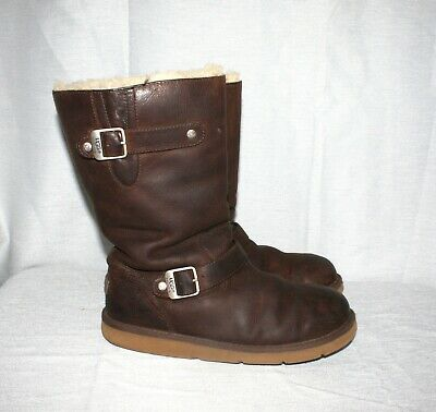 c70de89a02a UGG AUSTRALIA #5678 Kensington Brown Leather Shearling Women's Boots Size 8