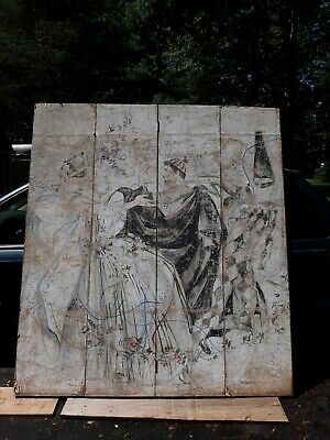 Large Old or Antique  Persian Painting Mounted on 4 Panel Room  Divider Screen