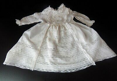 Vintage French Handmade Baby Dress Lace and Embroidery