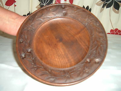Antique Black Forest Musical Wooden Fruit Bowl Hand Carved Made In Germany