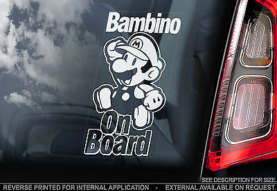 Bambino On Board - Car Sticker - Super Mario - Personalised: Child, Baby, Name..