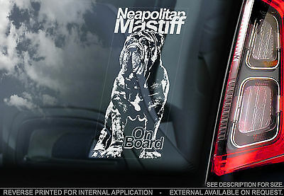 Neapolitan Mastiff - Car Window Sticker -Mastino Napoletano Dog, Italian Bulldog
