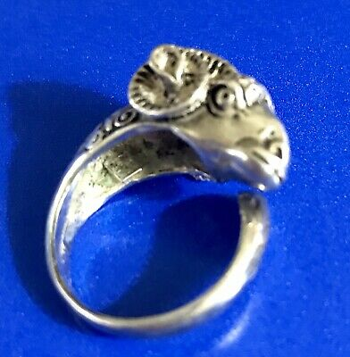 Vtg Sterling Silver 950 Horned Ram Wrap Bypass Ring Sz 6.5 Hallmarked Awesome!!