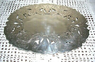 Wallace Oval Pierced Silver Plate Footed Trivet - #7310 With Sticker 9""