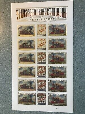 New!US Postage Stamps (18)Transcontinental Railroad 150th Anniversary.Sheet. MNH