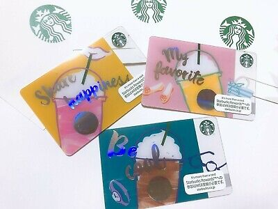 2018 Starbucks Japan  Frappuccino Make Your Day 3 Colors Cards Pin Intact F/S