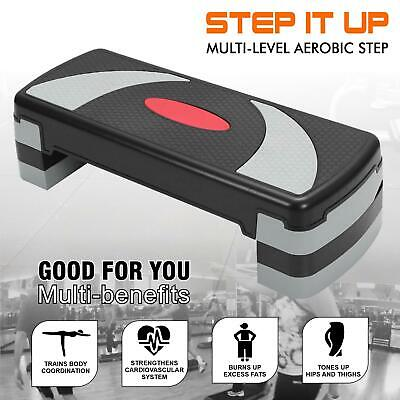 Aerobic Step Stepper Exercise Riser Gym Cardio Workout Fitness 3 level Block