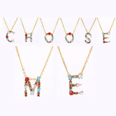 Gold Color 26 Alphabet Letters Multicolor CZ Crystal  Initial Pendant Necklace
