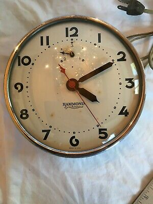 Vintage Hammond Synchronous Chrome Glass  Wall Clock Model 311 Working Made USA