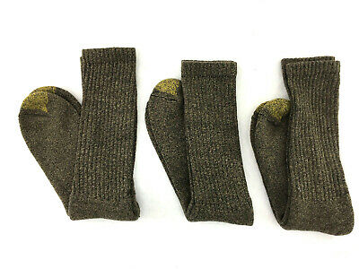 3 Pair of Gold Toe Men's Cushioned Work/Athletic Socks, Brown, Shoe Sizes 7-12