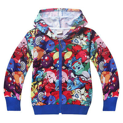 Kids Boys Girls Hooded Sweatshirt Hoodies Jacket Pokemon Long Sleeve Coat Tops