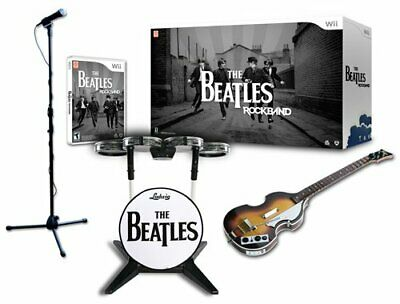 NEW Nintendo Wii Beatles Rock Band Limited Edition Bundle Drums Guitar Game &Mic