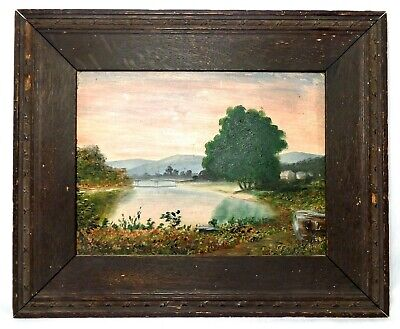 Late 19Th-Early 20Th C Antique O/B American Landscape Orig Period Dark Oak Frame