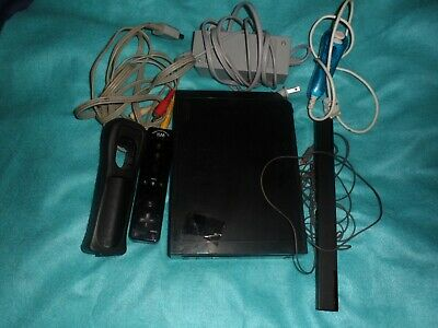 Nintendo Wii Black Console with cords and one controller MODDED (NTSC)