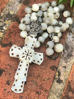Antique Mother of Pearl Rosary Beads, Late Victorian Edwardian, Unmarked Silver