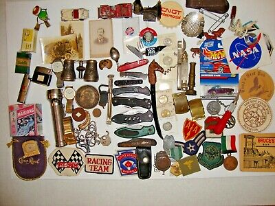 Vintage junk drawer mixed lot pocket knives, wristwatches,foreign coins and more