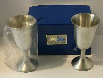 "Vintage! Set Of Josten's Lindor Hand Cast Pewter Goblets 8oz.~ 6-1/4""Tall GTI"