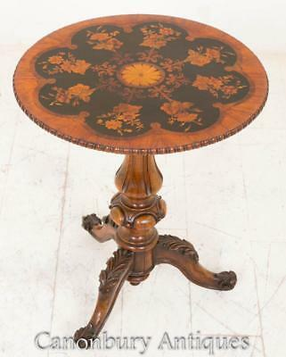 Victorian Occasional Side Table Marquetry Inlay