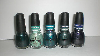 China Glaze Tranzitions Nail Lacquer Polish w/ Hardeners & Top Coat Set Lot ...