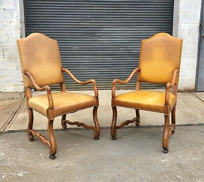 RARE Pair Henredon Leather Nailhead Trim Baroque Wood Sculptural Arm Chairs
