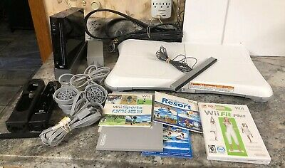 Black Nintendo Wii Console Bundle W/Wii Sports, Resorts, Fit Plus, Balance Board