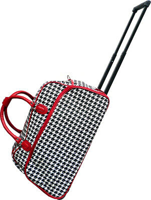"""Women's Red Houndstooth 21"""" Rolling Duffel Bag Suitcase Garment Carry-on Duffle"""