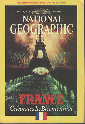 National Geographic Mag. July 1989 With Map & Notre Dame E24