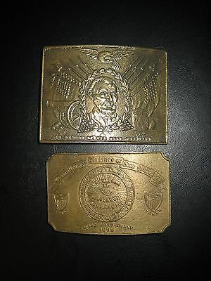 Vtg 2 Belt Buckles In Memory of our Dear President Lincoln & Committee of Vigil.