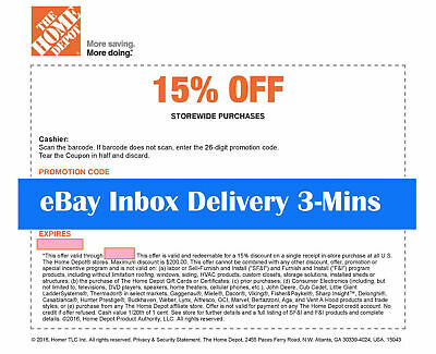 ONE 1x Home Depot 15% OFF !1Coupon Save up to $200-Instore ONLY-expires 9/14