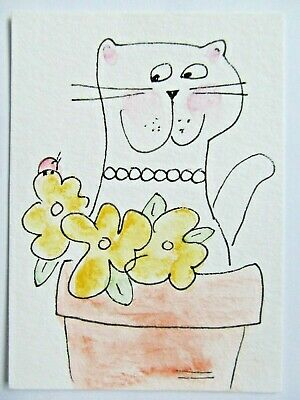 ACEO Original Watercolor Cat Flower Pot Spring Flowers Abound by Artist MiloLee