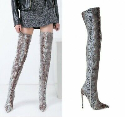 63676619da25 Lady Over Knee High Boots Pointed Toe High Heel Snakeskin Print Shoes Stage  Club
