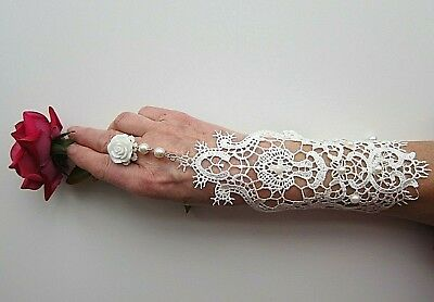 1 pc Women White Lace Net Bridal Cocktail Prom 1 Glove with Ring or with Flower
