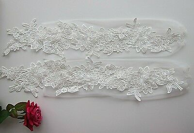 Long Lacey Gloves White Red for Bridal Prom Cocktail Gloves Special Occasions