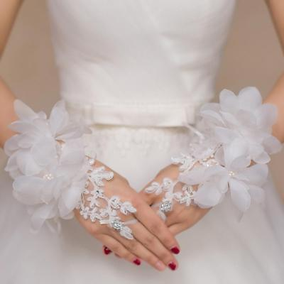 Fingerless Lacey Gloves with Flowers Bow Wedding BRIDALProm Occasion.